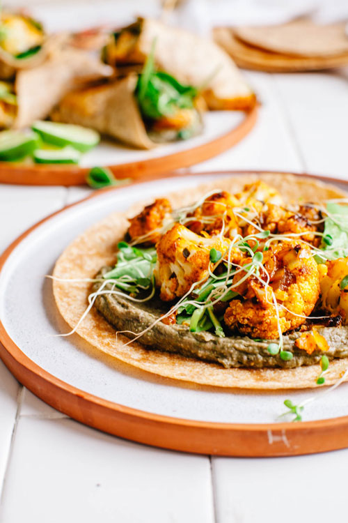 cauliflower and black bean hummus wrap