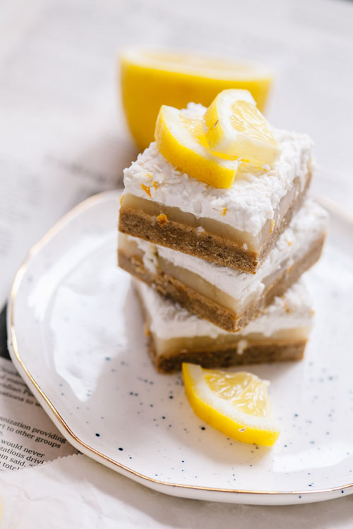 a stack of three lemon bars