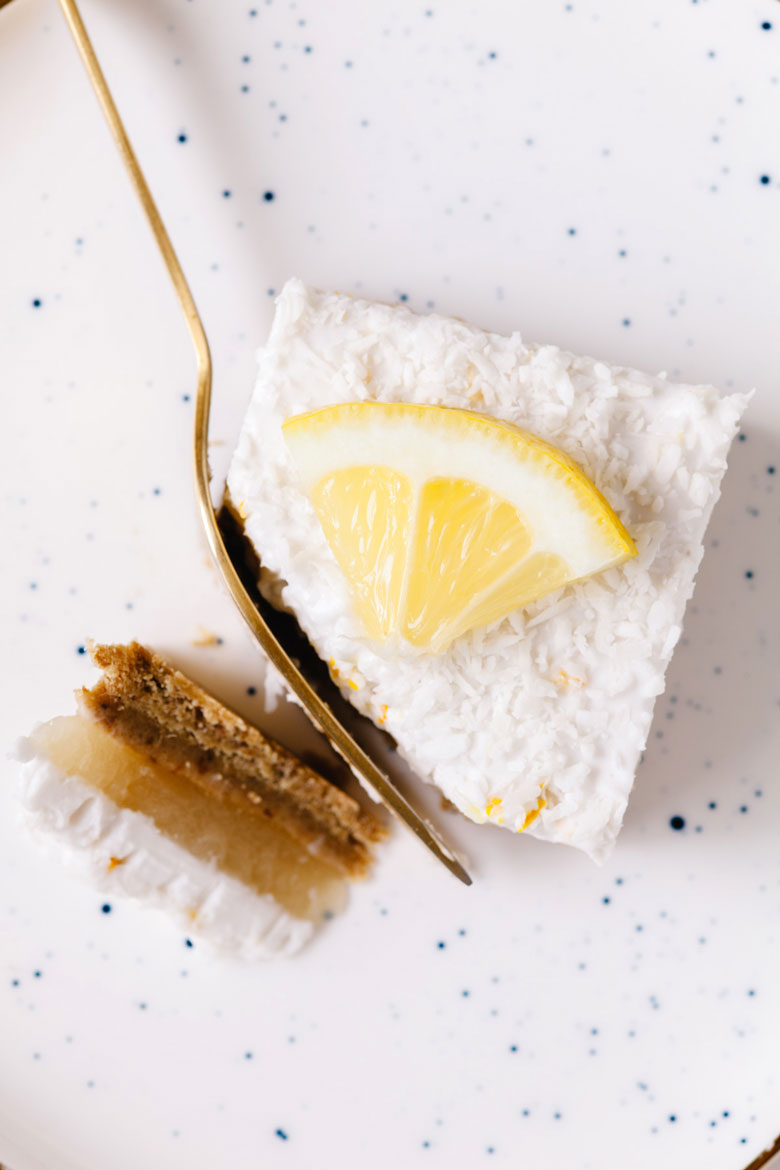A slice of healthy lemon bar