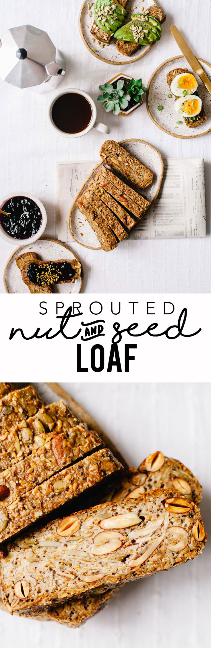 This sprouted nut and seed loaf is totally grain-free, vegan, and made with less than 10 ingredients. Plus it's packed with healthy fats and protein! #vegan #sprouted #bread #healthy #glutenfree | Brewing Happiness