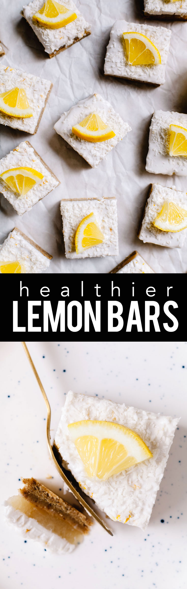 These healthier lemon bars are no-bake, gluten-free, vegan, naturally-sweetened and fully delicious. Plus they're topped with a fluffy coconut cream layer! #glutenfree #vegan #nobake #lemonbars | Brewing Happiness