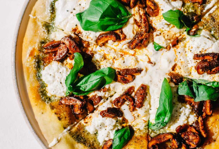 Marinated Mushroom Pesto Pizza with Ricotta and Burrata