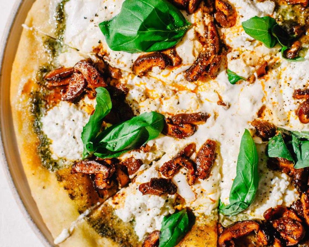 Marinated Mushroom Pesto Pizza | Brewing Happiness