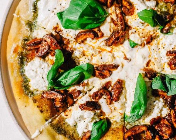Marinated Mushroom Pesto Pizza with Ricotta and Burrata