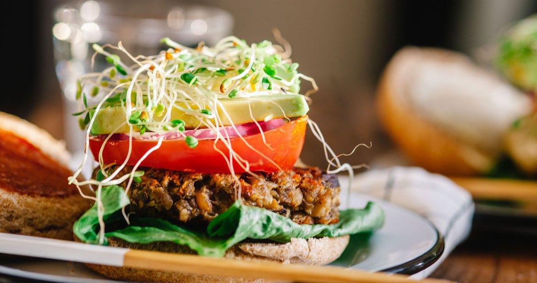 Mushroom Chickpea Veggie Burger | Brewing Happiness