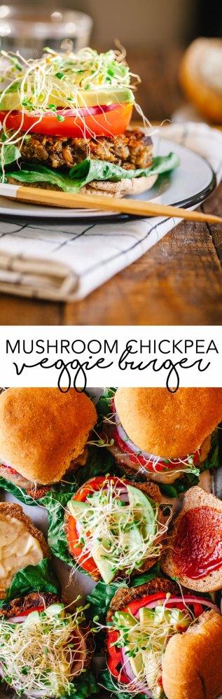 Mushroom Chickpea Veggie Burgers | Brewing Happiness