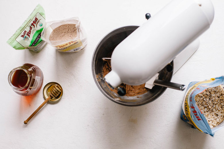 making cookie dough in a standing mixer
