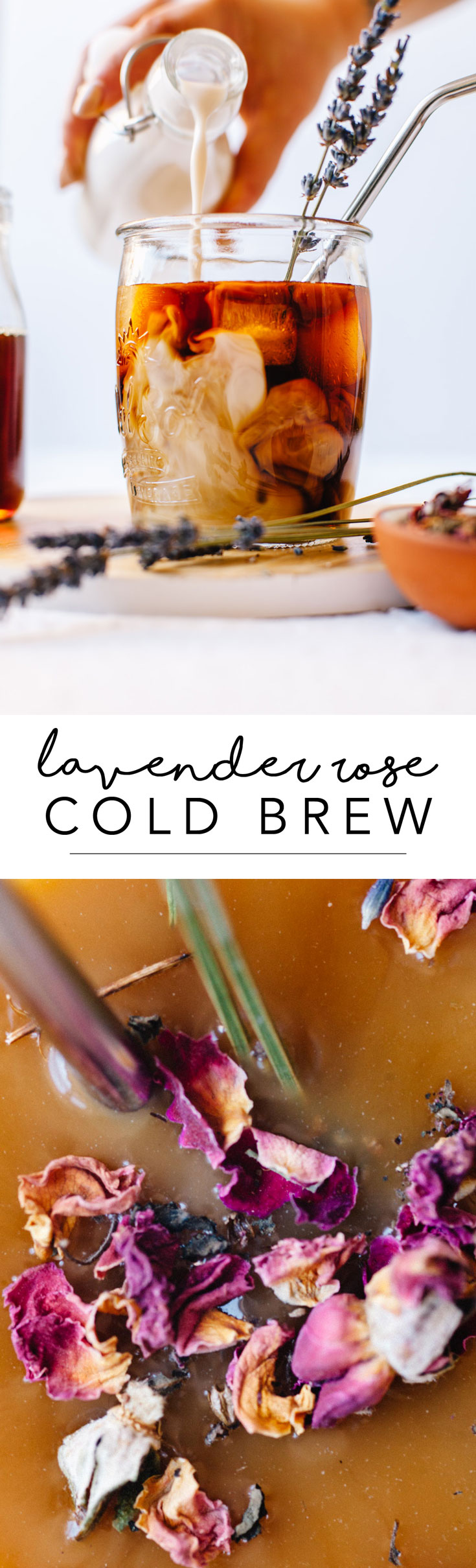 Make this Easy Lavender Rose Cold Brew coffee at home in no time! All you need is dried lavender, rose water, Dunkin Donuts Cold Brew packets and water. It's the perfect drink of spring! #coffee #rose #lavender #coldbrew | Brewing Happiness