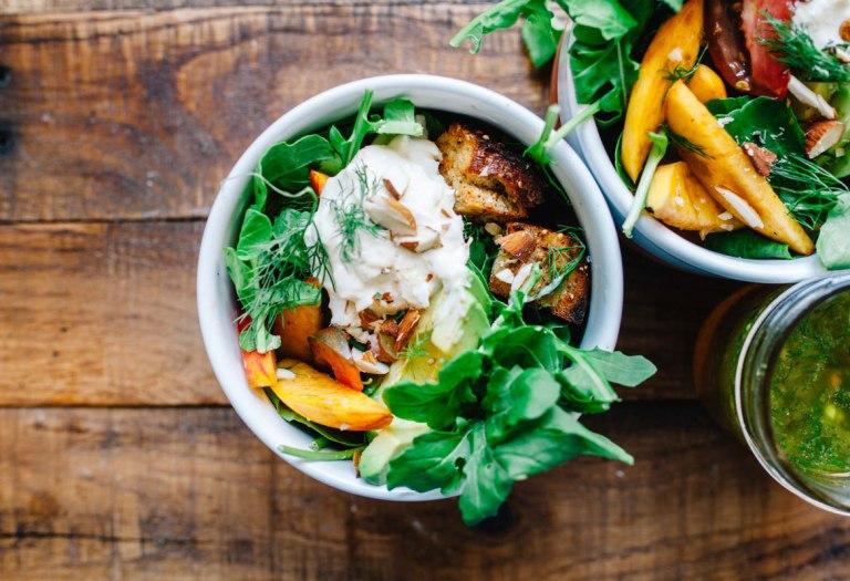 Peach Burrata Panzanella Salad
