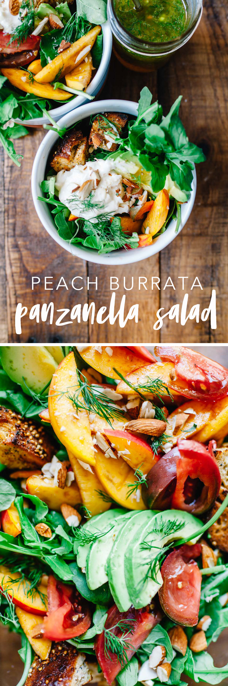 This Peach Burrata Panzanella Salad with Lemon-Dill Dressing is the perfect combination of fresh seasonal produce, cheese and toasted bread. What could be more perfect for summer? #salad #peach #burrata #panzanella #healthy #vegetarian | Brewing Happiness