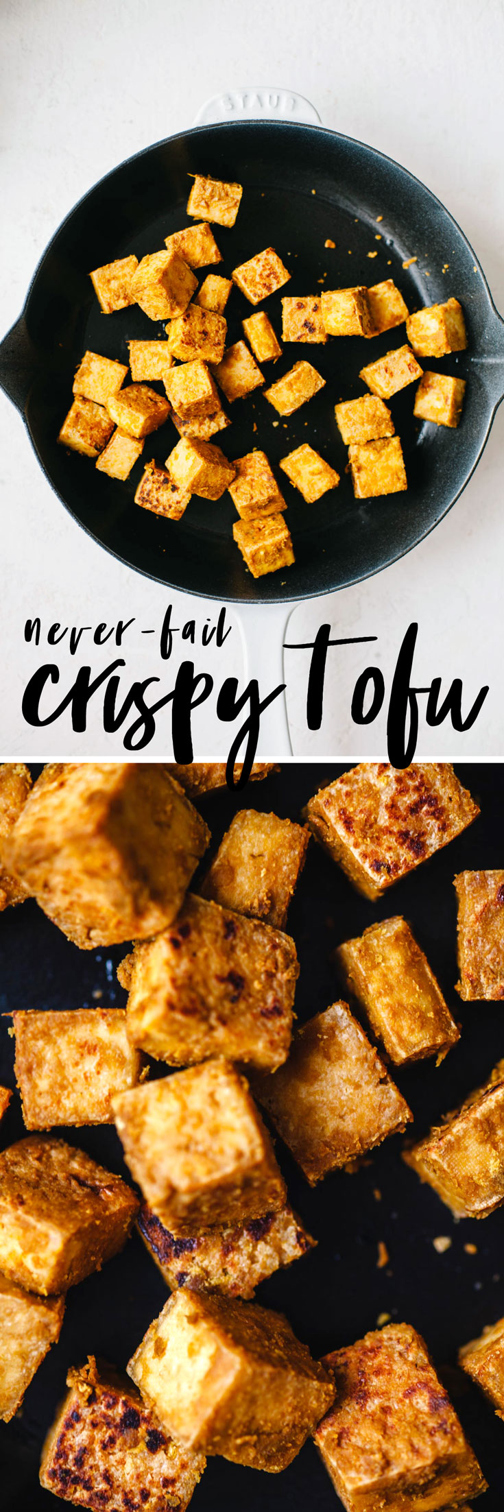 Learn how to trust your instincts in the kitchen with this easy and delicious Never-Fail Crispy Tofu recipe. Perfect to put on salad, bowls, soup, etc. #tofu #crispytofu #vegan #vegetarian | Brewing Happiness
