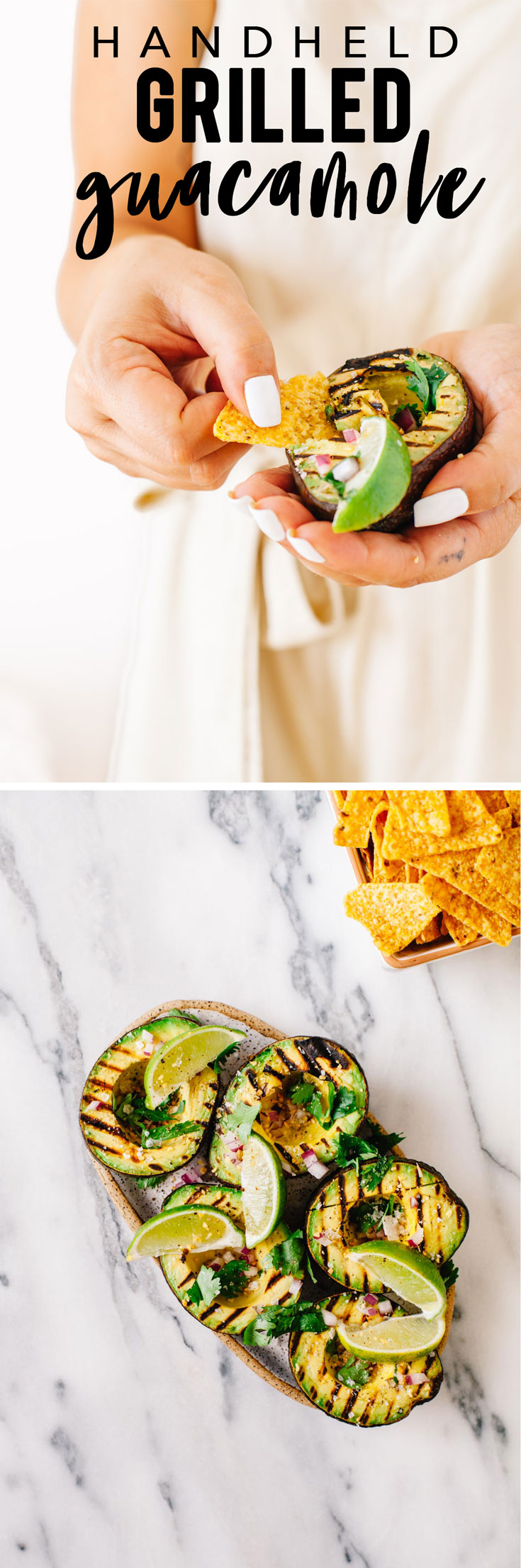 Grill an avocado, top it with red onion, garlic, cilantro, salt, pepper, and lime, and use chips to scoop it into your mouth. BOOM. Handheld guacamole. #guacamole #avocado | Brewing Happiness