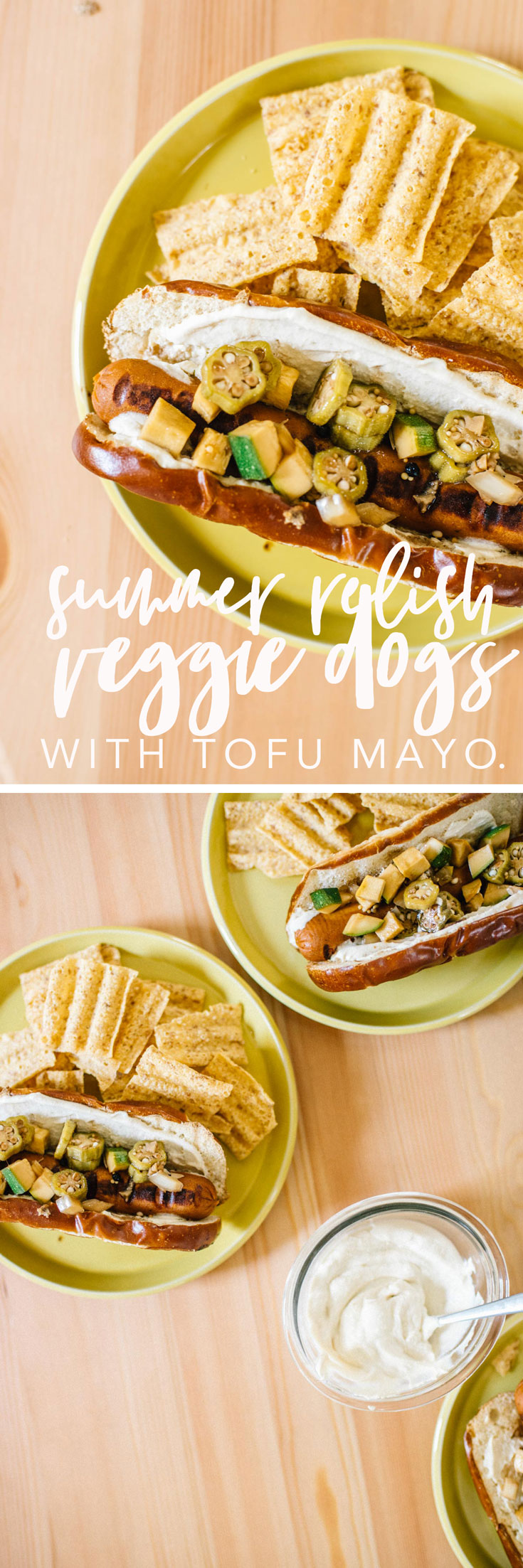 Use up that squash and okra by making these Summer Relish Veggie Dogs with Tofu Mayo! It's the most delicious (vegan) way to celebrate the end of summer. #vegan #veggiedogs #summerrelish #okra #squash #plantbased #tofumayo | Brewing Happiness
