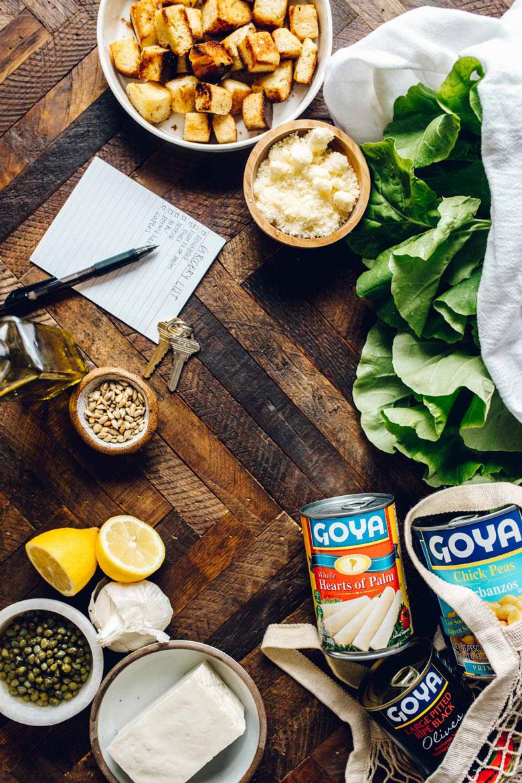ingredients for chickpea caesar salad