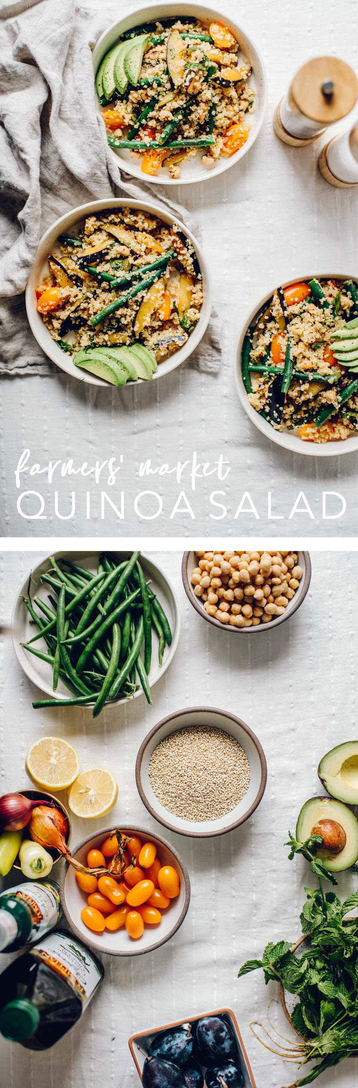 Learn how to cook intuitively by making this totally customizable Farmers' Market Quinoa Salad. Eat clean and support local farmers, all in one dish! #farmersmarket #quinoa #quinoasalad #glutenfree #dairyfree | Brewing Happiness