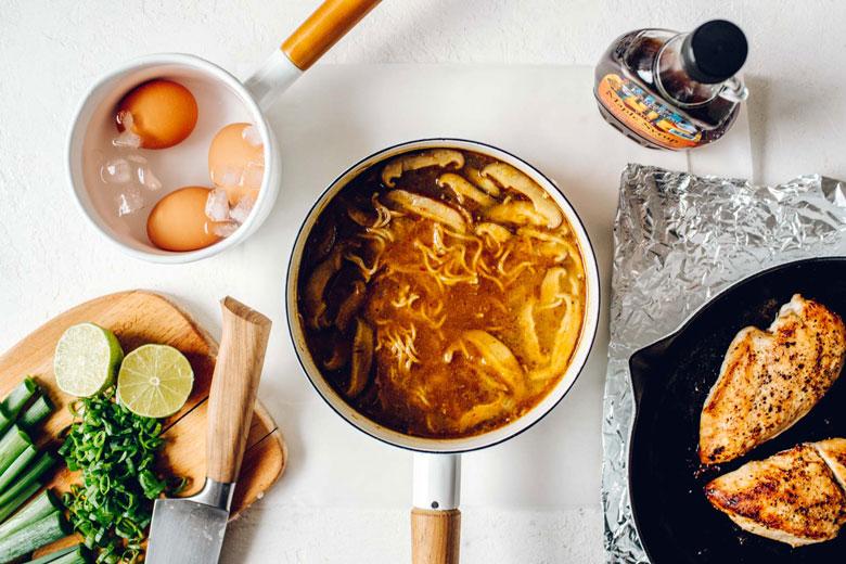ramen ingredients flatlay