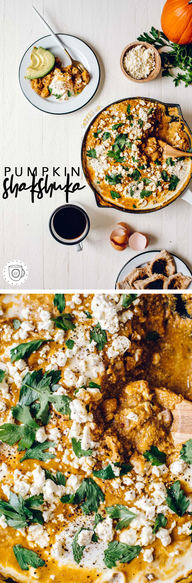 This pumpkin shakshuka is a seasonal spin on the Middle Eastern breakfast dish and a great savory way to enjoy pumpkin this fall! #shakshuka #pumpkin #vegetarian #pumpkinshakshuka | Brewing Happiness