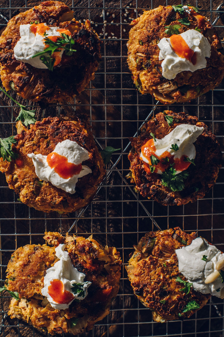 Kimchi Chickpea-Potato Pancakes | Brewing Happiness