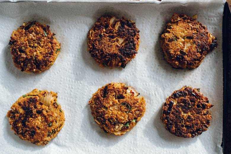 fried kimchi chickpea-potato pancakes