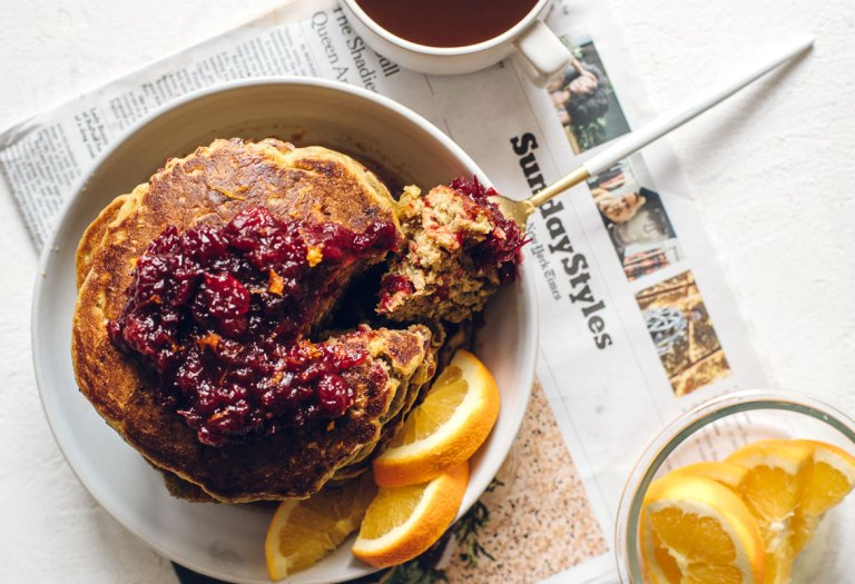 Thanksgiving Leftovers Pumpkin Cranberry Buttermilk Pancakes | Brewing Happiness