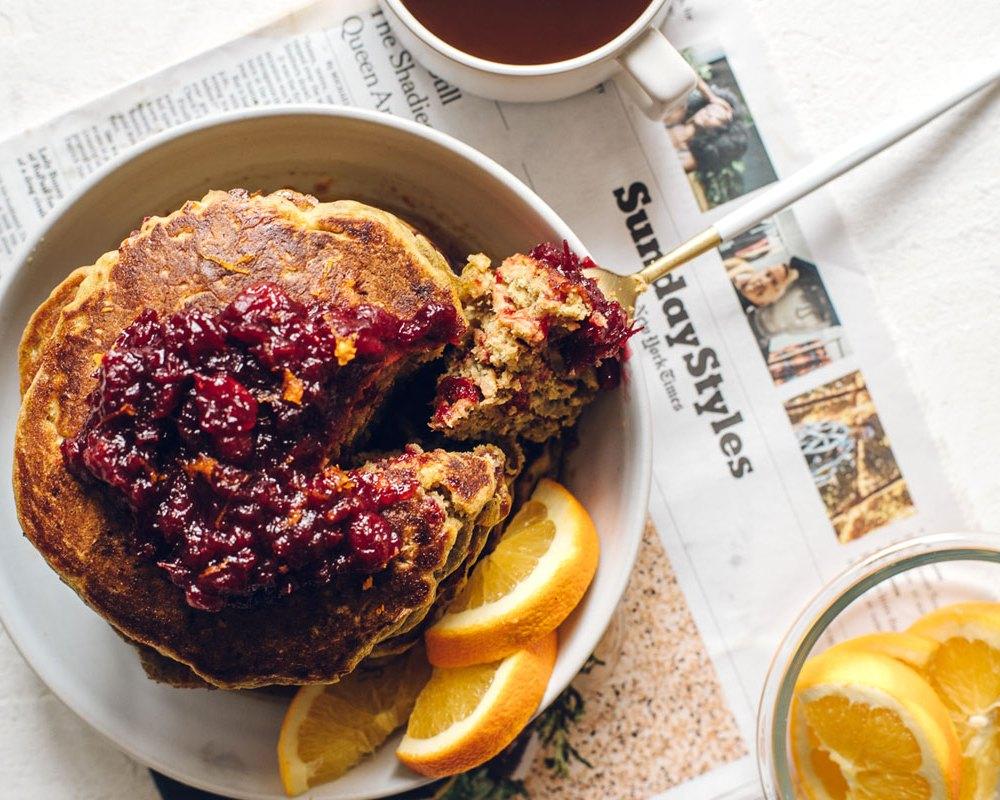 Thanksgiving Leftovers Pumpkin Cranberry Buttermilk Pancakes | Brewing Happiness