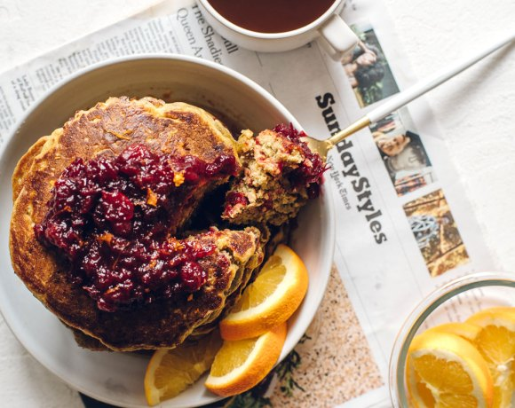Thanksgiving Leftover Pumpkin Cranberry Buttermilk Pancakes