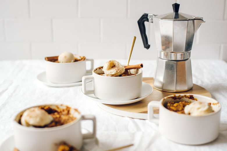 four mug muffins with a coffee pot