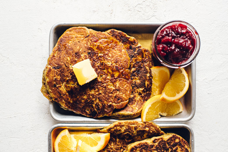 pumpkin pancakes on a tray
