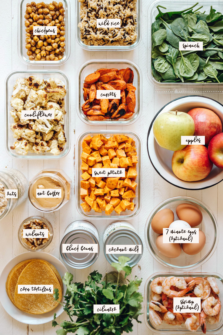 shopping list for an adaptable winter meal prep plan
