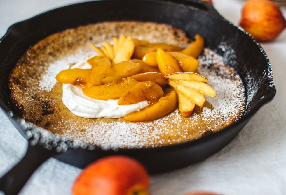 Peach Oat Dutch Baby | Brewing Happiness
