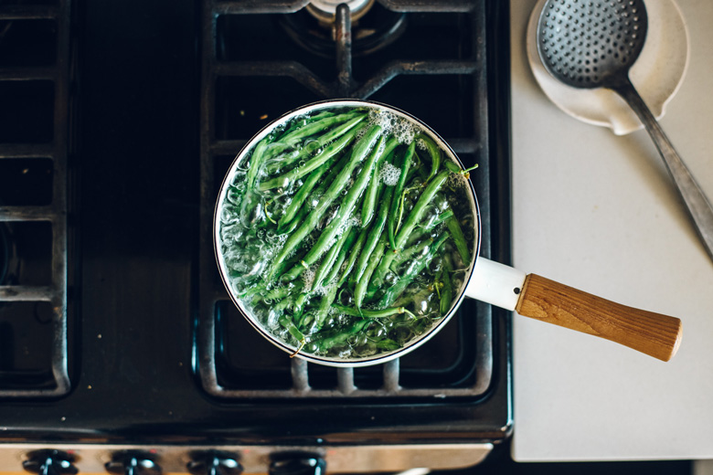 overhead shot of boiling green beans
