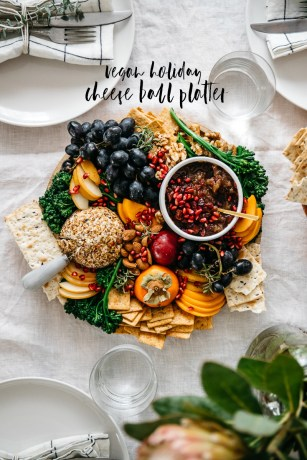 Vegan Holiday Cheese Ball Platter #vegan #plantbased #thanksgiving #appetizer | Brewing Happiness