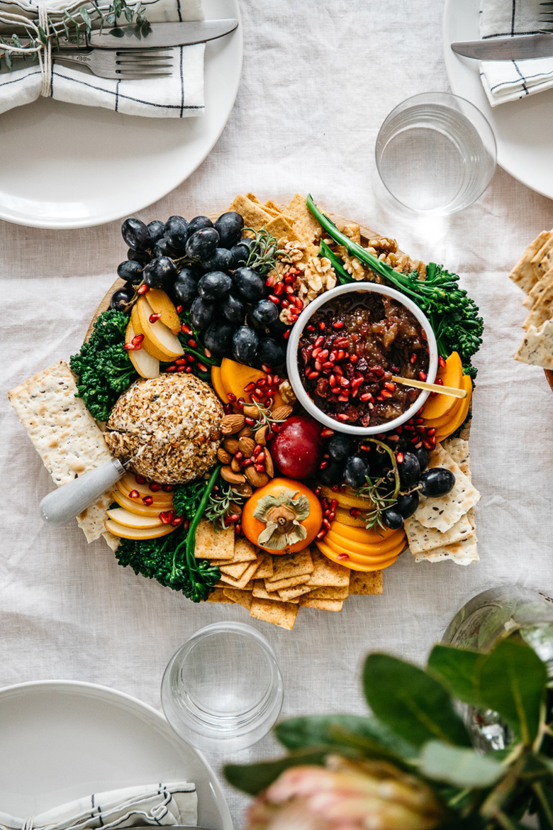 Holiday Vegan Cheese Ball Platter with Cranberry Fig Jam | Brewing Happiness