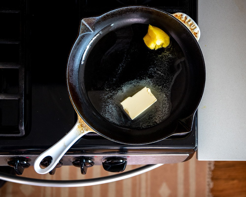 ghee and butter melting in a pan