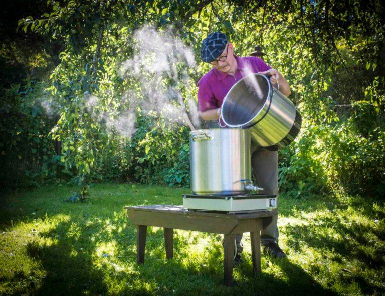 Brewing Sahti in the Garden