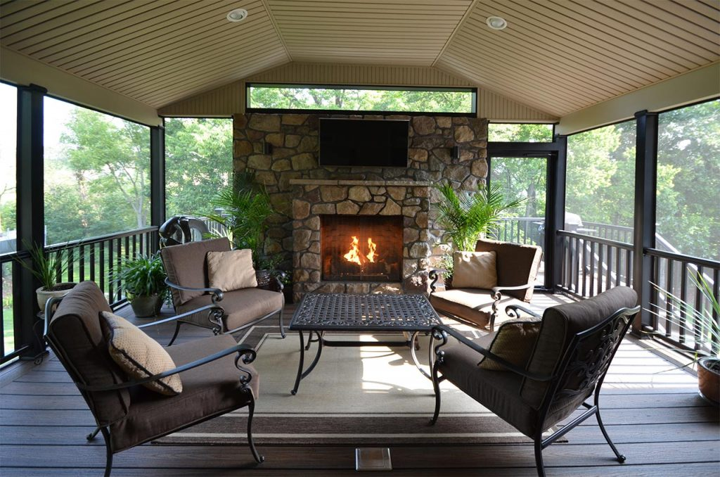 Sheltered Deck & Stone Fireplace   Breyer Construction ... on Outdoor Gas Fireplace For Deck id=49415