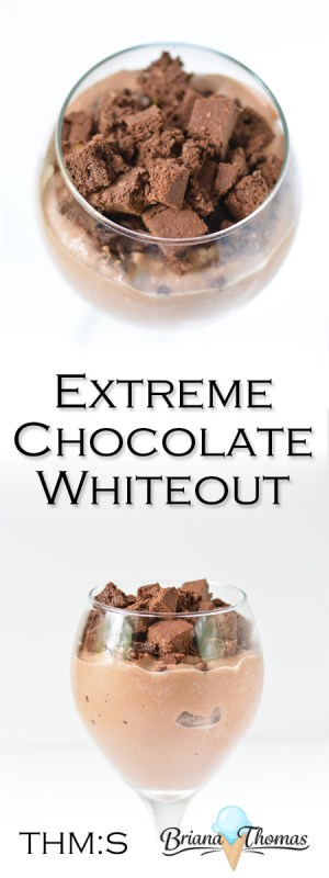 This Extreme Chocolate Whiteout is my healthy take on the Chocolate Xtreme DQ Blizzard and is THM:S, low carb, sugar free, and gluten/peanut free.