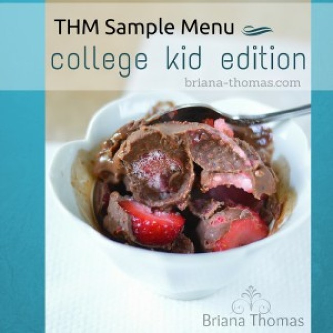 THM Sample Menu - College Kid Edition