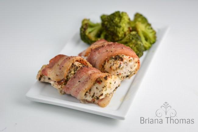 Bacon Wrapped Mediterranean Chicken