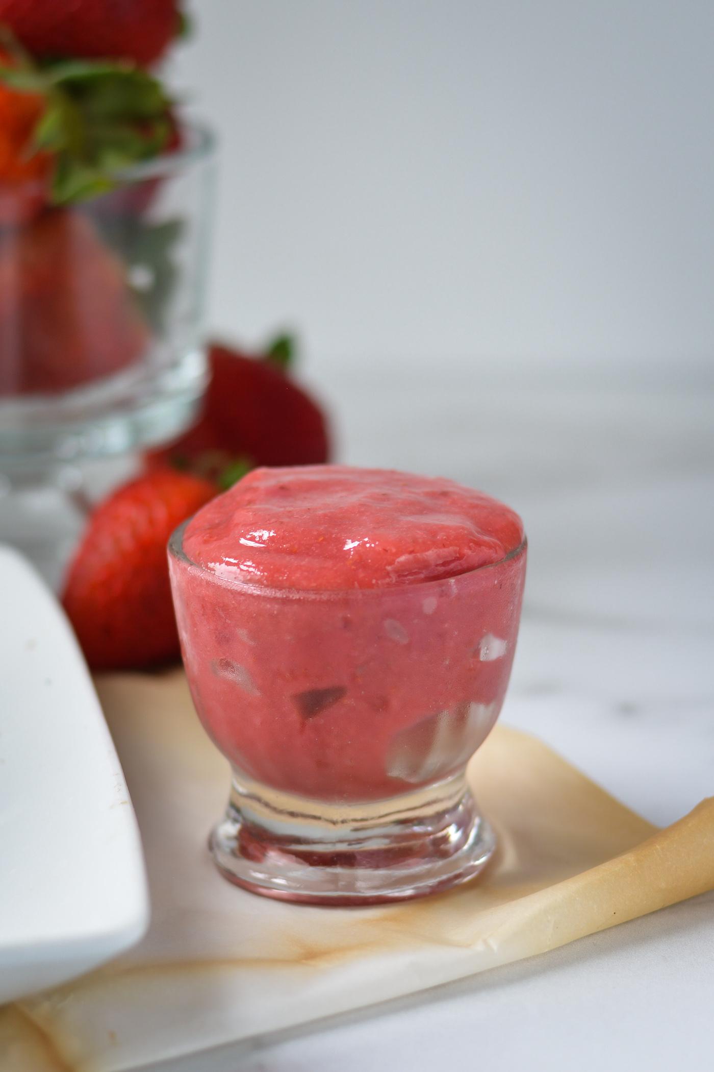 strawberry freezer jam in small glass goblet