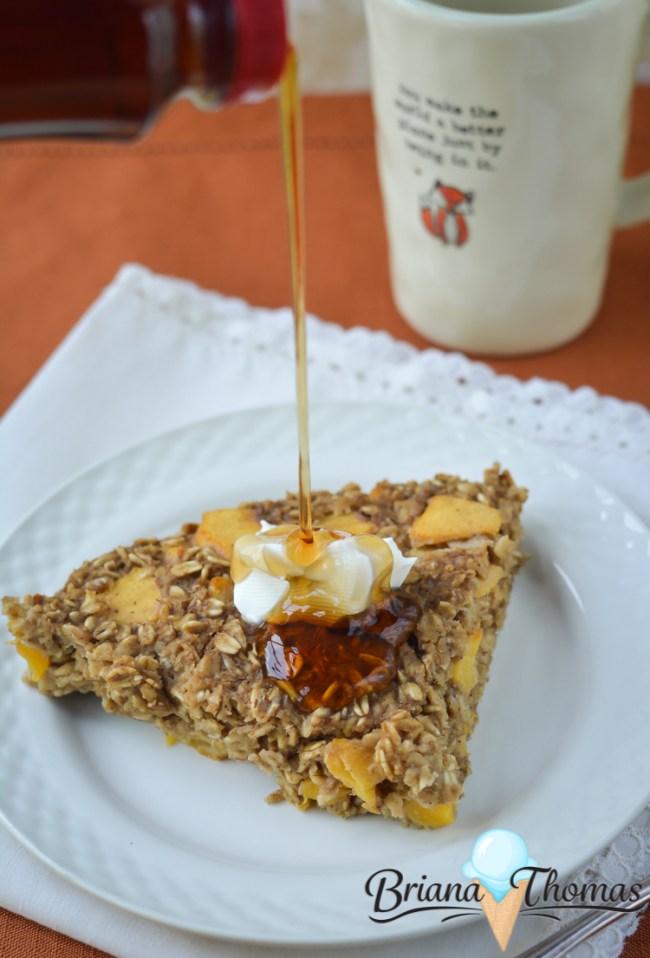 Ginger Peach Oatmeal Cake - THM:E, low fat, sugar free, gluten/dairy/nut free