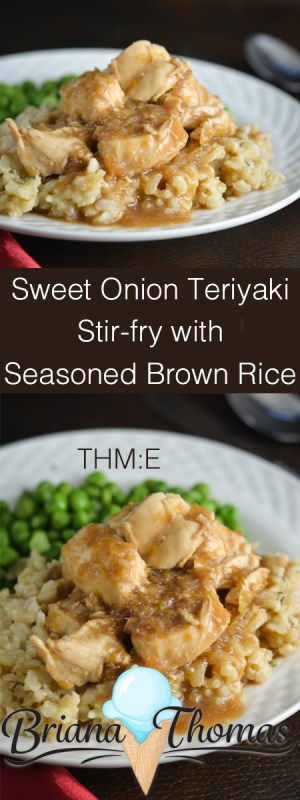 This Sweet Onion Teriyaki Stir-fry is served with seasoned brown rice for a filling dinner! I like to serve green peas as well. THM:E, low fat, sugar free