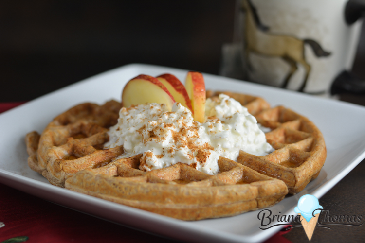 This Apple Cinnamon Waffle is a perfect fall breakfast. THM:E, low fat, sugar free, gluten/nut free with dairy free suggestion