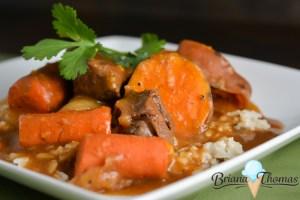 Hunter's Venison Stew Over Rice