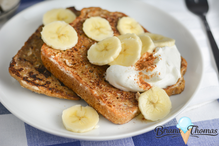 This French Toast for One is a quick and easy THM:E breakfast. I like to top it with some sliced banana and sugar-free syrup. Low fat, nut free