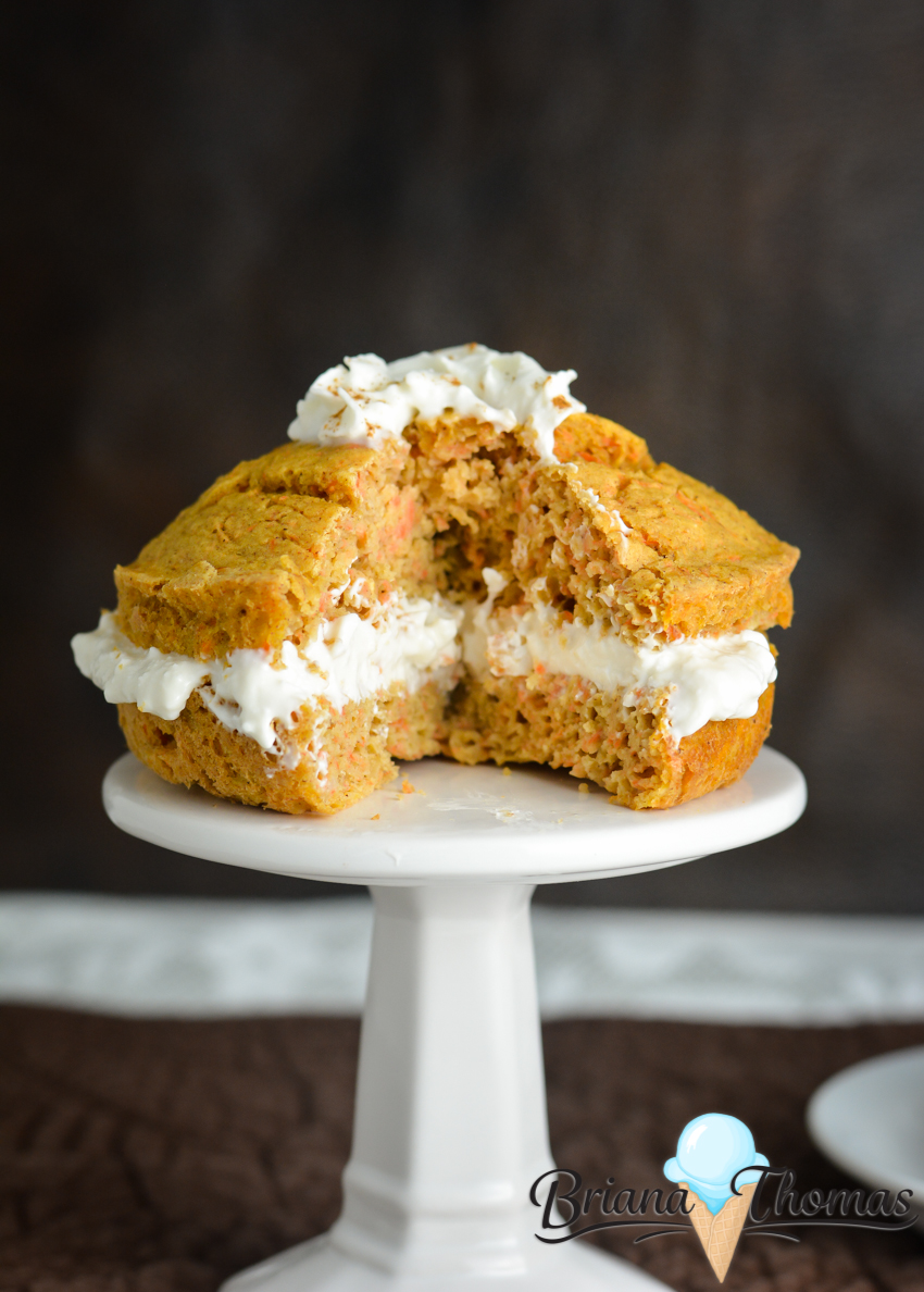 This carrot cake for one is so cute! It makes a great breakfast, snack or dessert. THM:E, low fat, no sugar added, gluten/nut free with dairy-free option