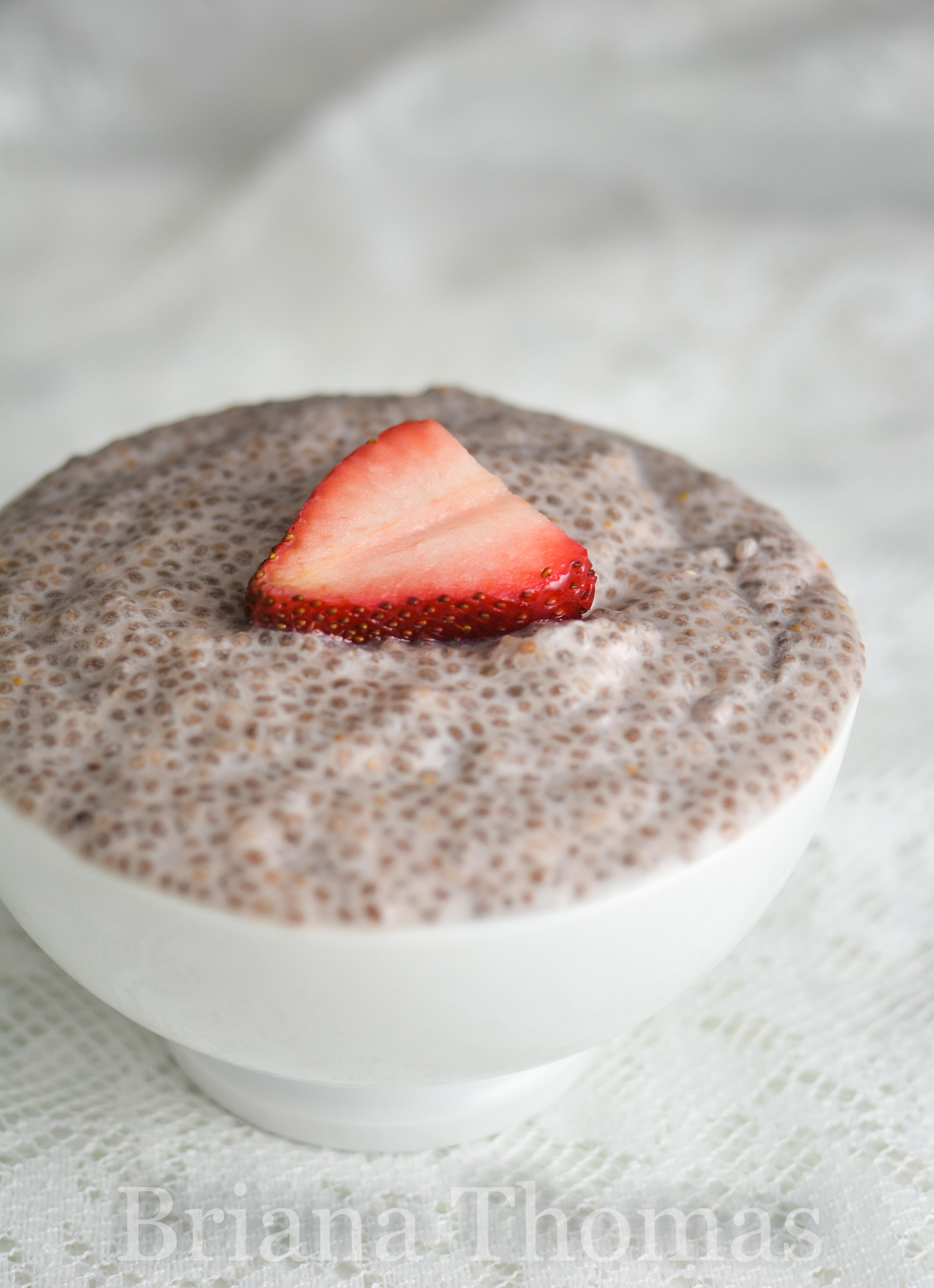"This Dairy-Free Strawberry Chia ""Tapioca"" makes a great breakfast, snack, or dessert! THM:S, low carb, sugar free, gluten/egg/dairy free, nut free option"