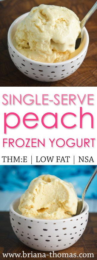 This Single-Serve Peach Frozen Yogurt takes only 5 simple ingredients and makes a protein-packed post-workout snack! THM:E, low fat, gluten/egg/nut free