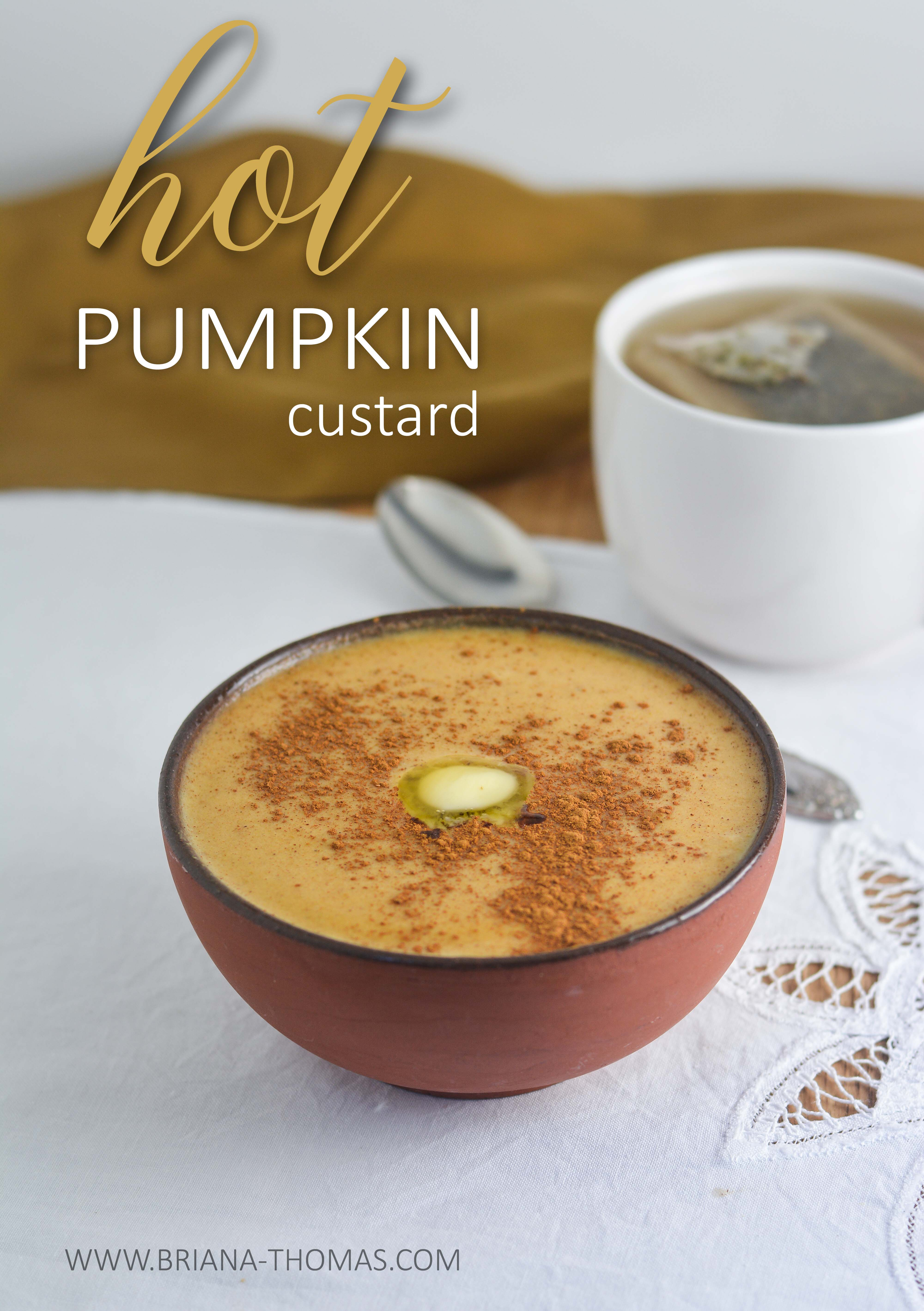 This Hot Pumpkin Custard for one is the epitome of fall comfort food! I love it for breakfast. THM:S, low carb, sugar free, gluten/dairy/nut free
