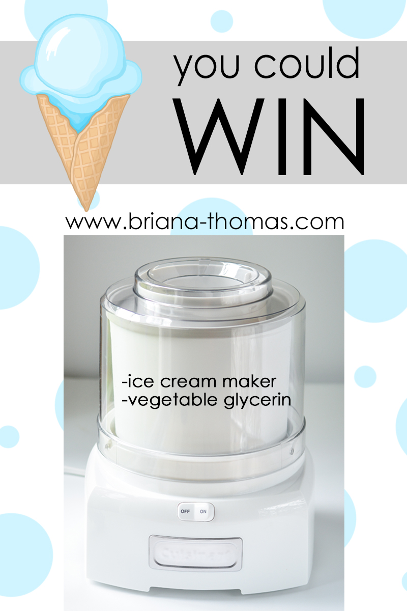 Check out this post for a summery ice cream giveaway! You could win a 1.5 qt. Cuisinart ice cream maker plus a quart of vegetable glycerin!